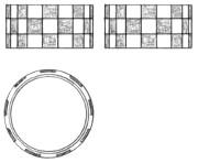 チェッカー 手彫り指輪 四角 チタンペア マリッジ リング デザイン画