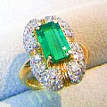 K18エメラルドリング ダイヤモンド 指輪 サイズ直し